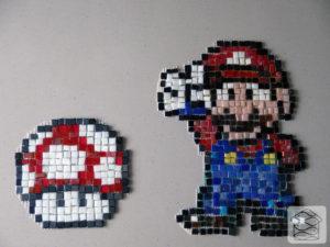 Mario, pixel mosaic, Kalamaja Mosaiigistuudio, pixel-party